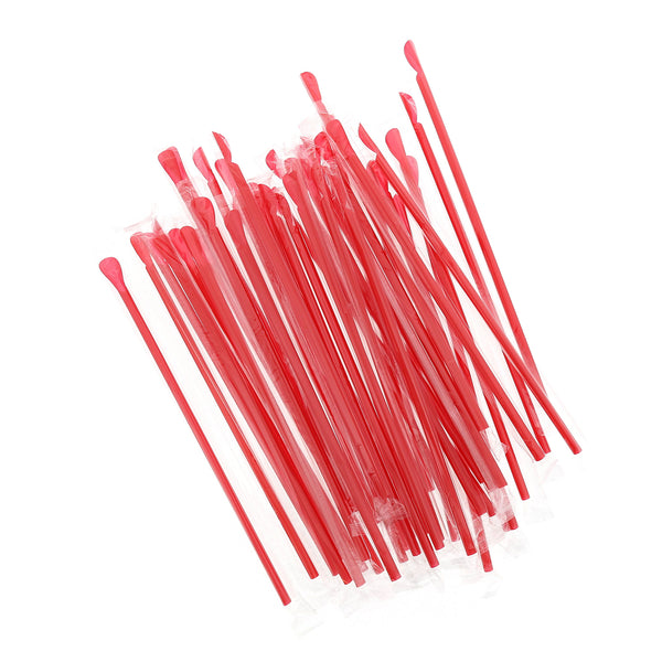 "10.25"" Individually Wrapped Jumbo Red Spoon Straws"