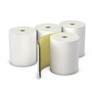 "3"" x 95' 2 Ply 7/16"" ID Core White/Canary Copy Register Rolls, Case of 50"