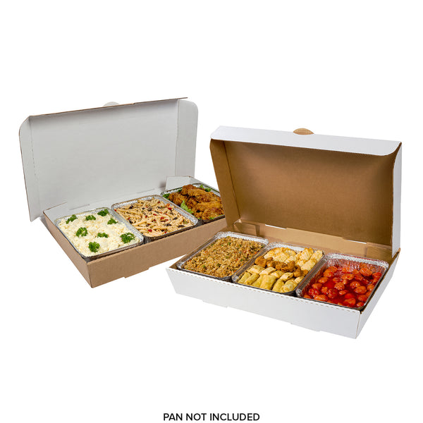 "Full Pan White 21"" x 13"" x 3"" Corrugated Catering Box - Reversible"