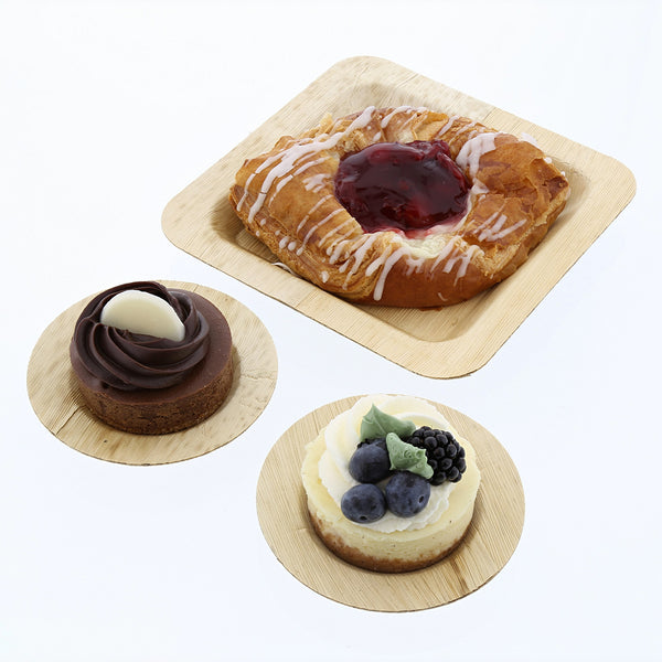 "3.5"" Bamboo Leaf Round Cocktail Plates with Desserts"