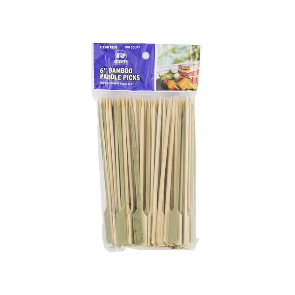 "6"" Bamboo Paddle Picks, Package of 100"