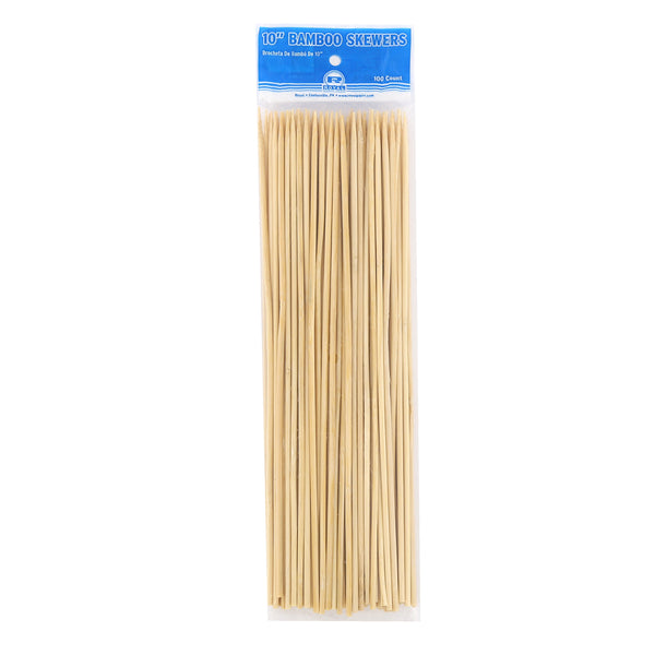 "10"" Round Bamboo Skewers, Package of 100"