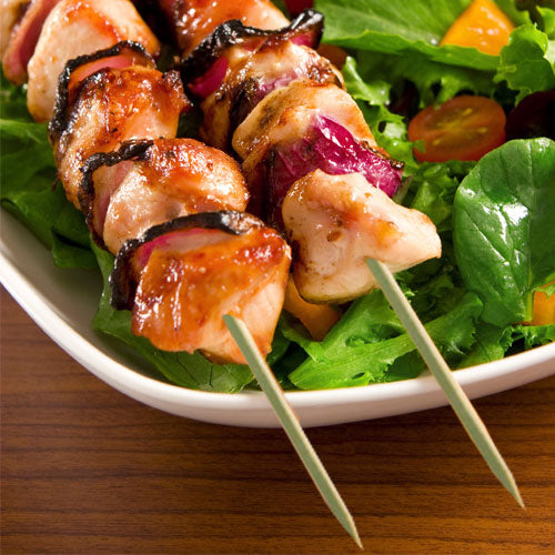 "10"" Flat Bamboo Skewers with Chicken"
