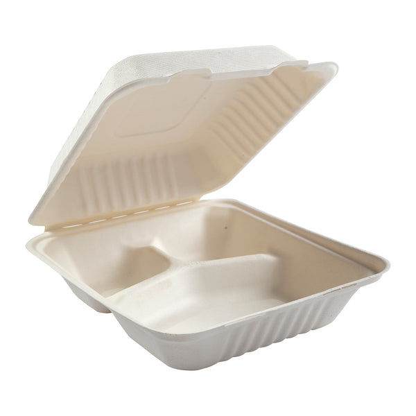 "7.875 x 8 x 3.19"" Medium 3 Section Molded Fiber Deep Hinged Lid Container"
