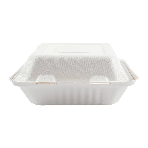 "8"" x 8"" x 3.19"" Medium 3 Section Molded Fiber Deep Hinged Lid Containers, Case of 200"