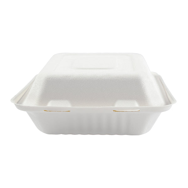 "7.875 x 8 x 3.19"" Medium 3 Section Molded Fiber Deep Hinged Lid Container PLA Lined - Front View"