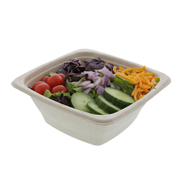 32 oz. Square Tan Bowl with Salad