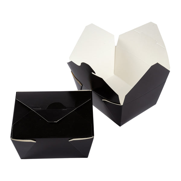 "#1 Black 4-3/8"" x 3.5"" x 2.5"" Folded Takeout Boxes"