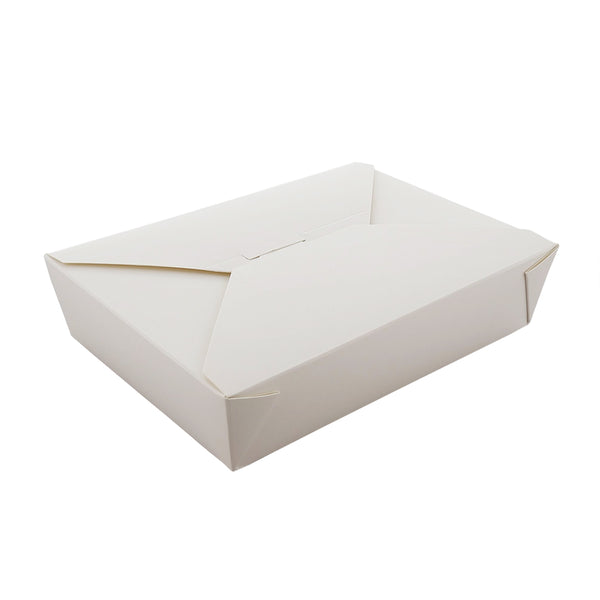 "#2 White 7-3/4"" x 5.5"" x 1-7/8"" Folded Takeout Boxes, 50 & 200 - CiboWares.com"