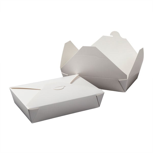 "FTB2W - #2 White 7-3/4"" x 5.5"" x 1-7/8"" Folded Takeout Boxes Sample, for Customer Service Use Only"