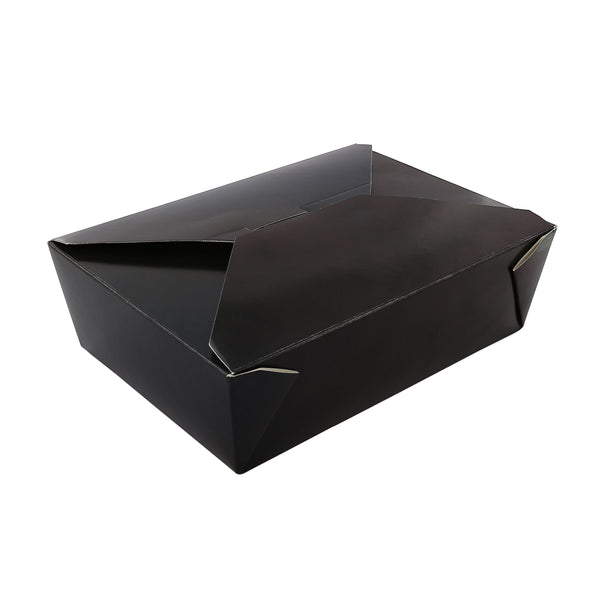 "7-3/4"" x 5.5"" x 2.5"" #3 Black Folded Takeout Box"