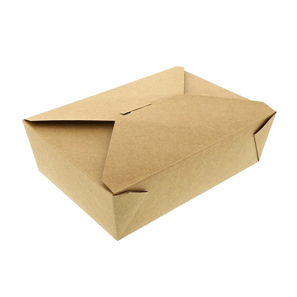 "7-3/4"" x 5.5"" x 2.5"" #3 Kraft Folded Takeout Box"