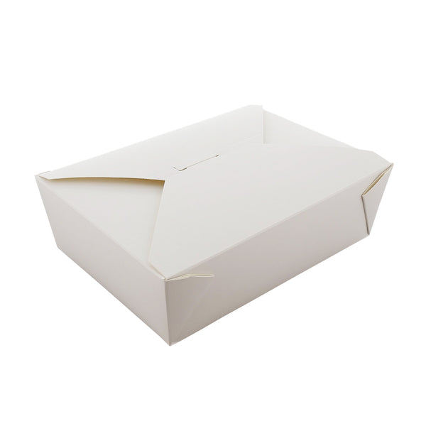 "7-3/4"" x 5.5"" x 2.5"" #3 White Folded Takeout Box"