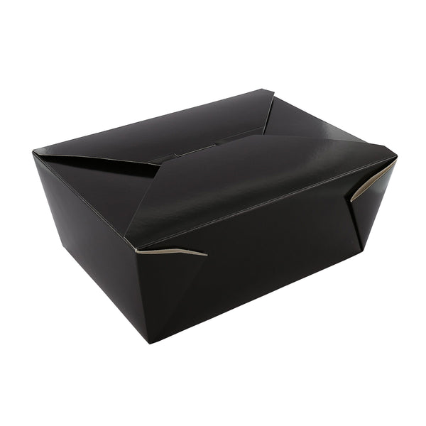 "7-3/4"" x 5.5"" x 3.5"" #4 Black Folded Takeout Box"