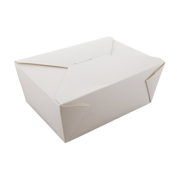 "7-3/4"" x 5.5"" x 3.5"" #4 White Folded Takeout Box"