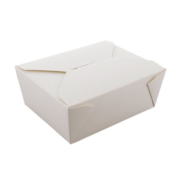 "6"" x 4-3/4"" x 2.5"" #8 White Folded Takeout Box"