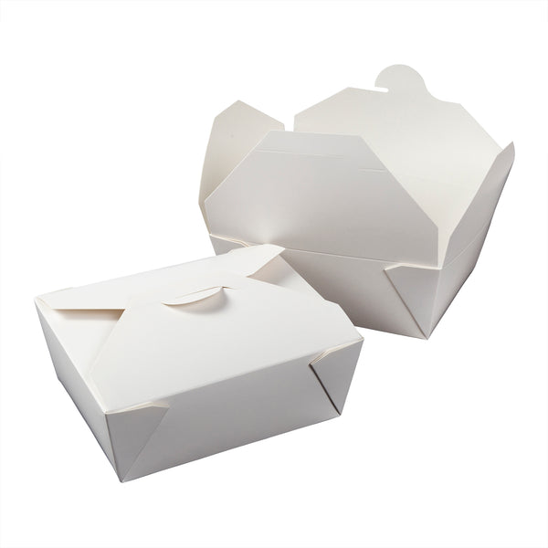 "FTB8W - #8 White 6"" x 4-3/4"" x 2.5"" Folded Takeout Boxes Sample, for Customer Service Use Only"