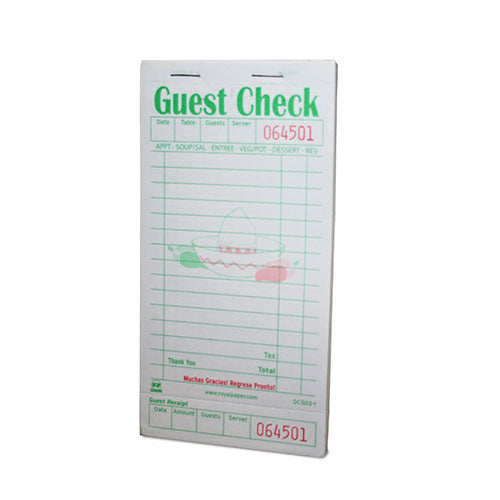 White Gracias Guest Checks-1 Part Booked