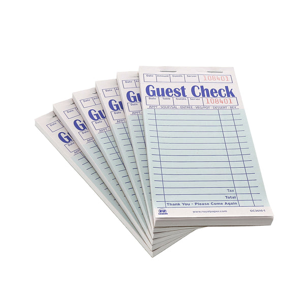 Green Guest Checks-1 Part Booked Stacked