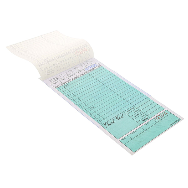 Green Carbonless Guest Check-2 Part Loose Customer Copy