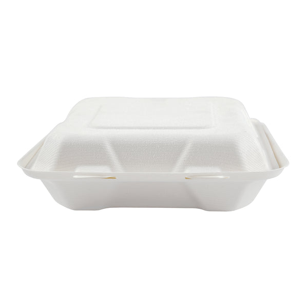 "7.875 x 8 x 2.5"" Medium Molded Fiber Hinged Lid Container - Front View"