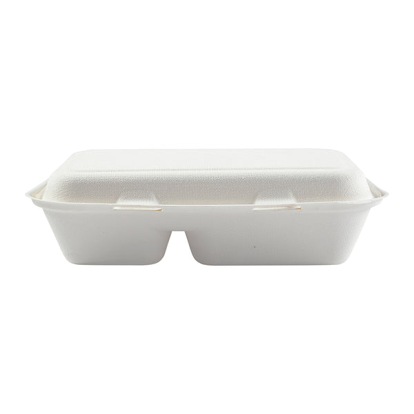 "9"" x 6"" 2 Section Molded Fiber Hinged Lid Container - Front View"