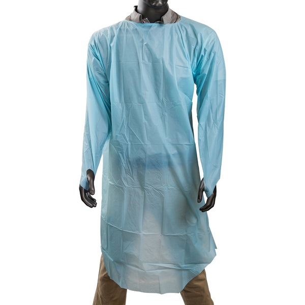 "47"" x 37"" Blue Polyethylene Isolation Gown with Thumb Loops"