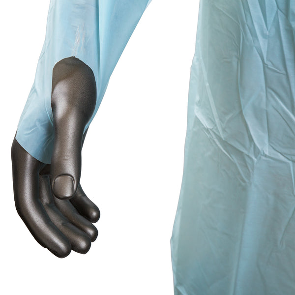 "47"" x 37"" Blue Polyethylene Isolation Gown with Thumb Loops - Wrist Close-up"