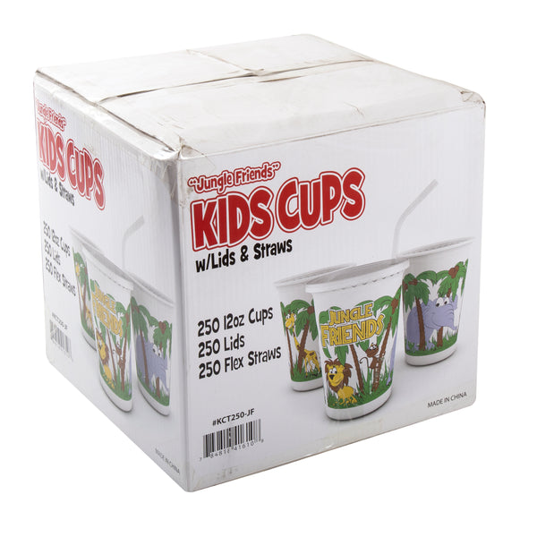 12 oz. Jungle Friends Theme Thermo Cups With Straws and Lids, Case of 250