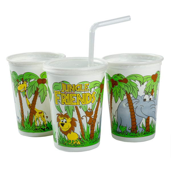 12 oz. Jungle Friends Theme Thermo Cups With Straws and Lids