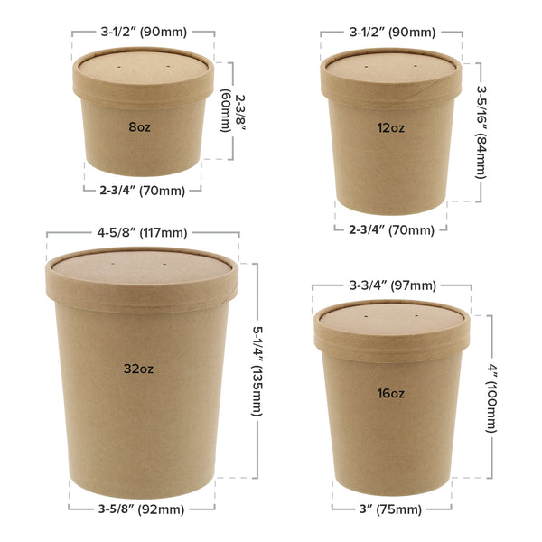 Kraft Vented Paper Lid and Container Sizing