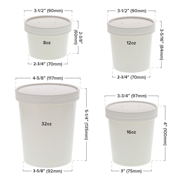 White Vented Paper Lid and Container Sizing
