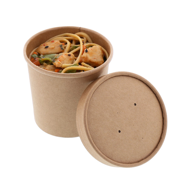 12 oz Kraft Paper Food Container and Lid Combo with Asian Noodles