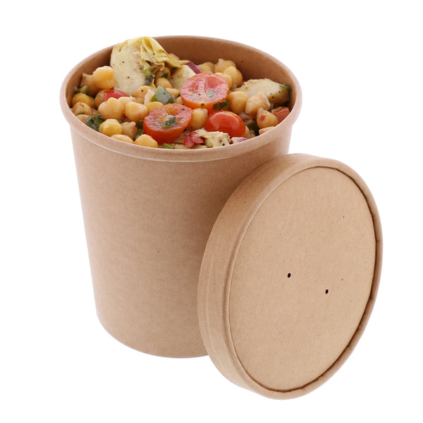32 oz Kraft Paper Food Container and Lid Combo with Chickpea Salad