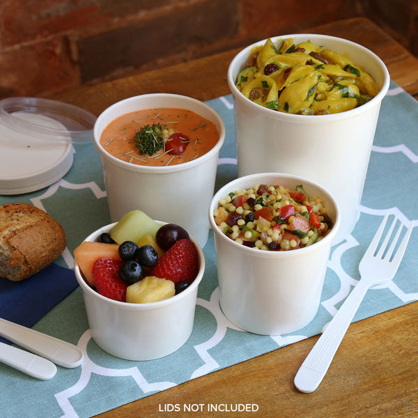 Paper Containers and Vented Lids in Lunch Setting