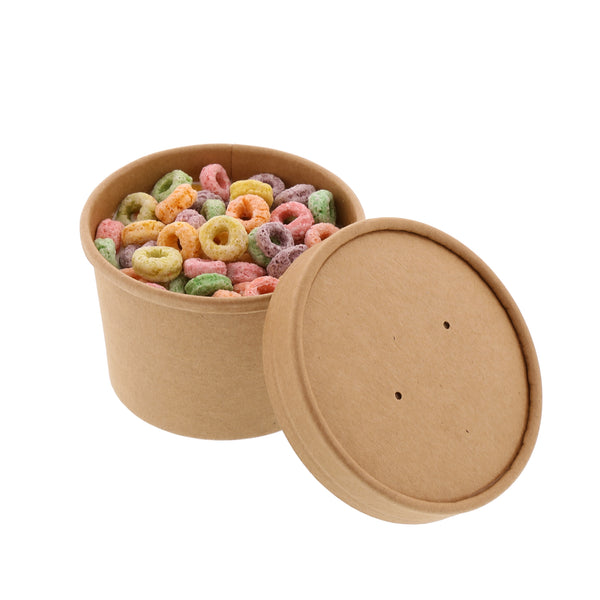 8 oz Kraft Paper Food Container and Lid Combo with Cereal
