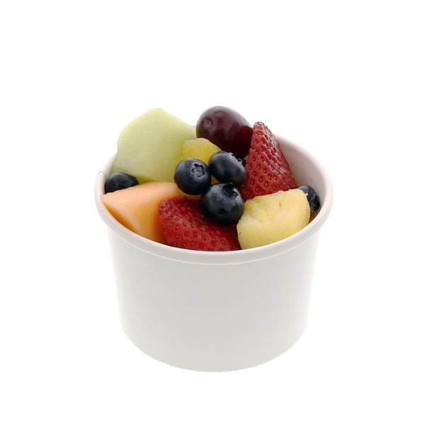 8 oz White Paper Food Container with Fruit