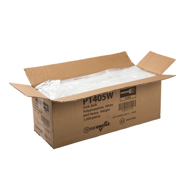 Medium Heavy Weight White Polypropylene Forks, Case of 1,000