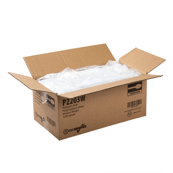 P2203W - Medium Weight White Polypropylene Teaspoons Sample, for Customer Service Use Only
