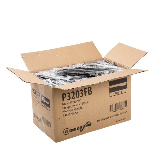 P3203FB - Medium Weight Black Polypropylene Individually Wrapped Knives Sample, for Customer Service Use Only