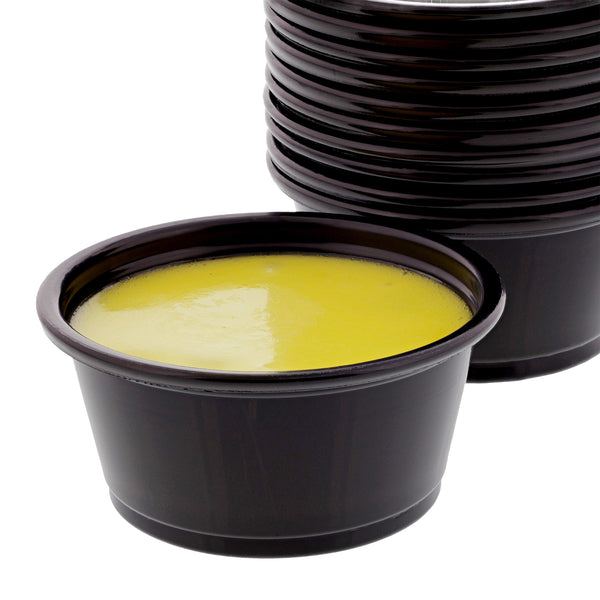 2 Oz. Poly Black Portion Cups with Sauce