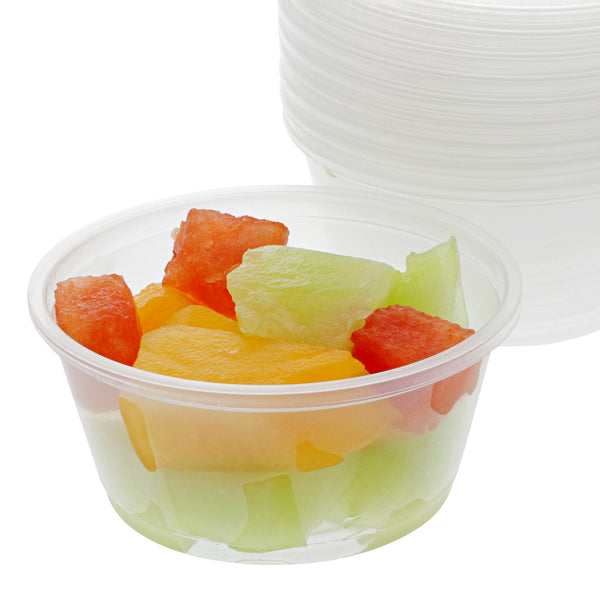 3.25 Oz. Poly Translucent Portion Cups with Fruit Salad