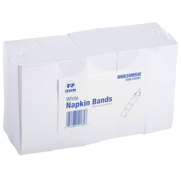 White Paper Shrink Wrapped Napkin Bands