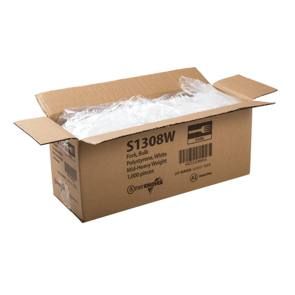 Medium Heavy White Polystyrene Forks, Case of 1,000