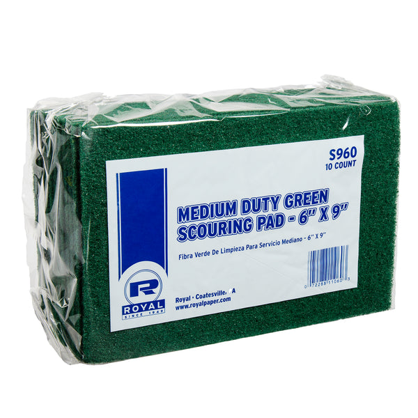 "Green 6"" x 9"" Medium Duty Scouring Pads, Pack of 10"
