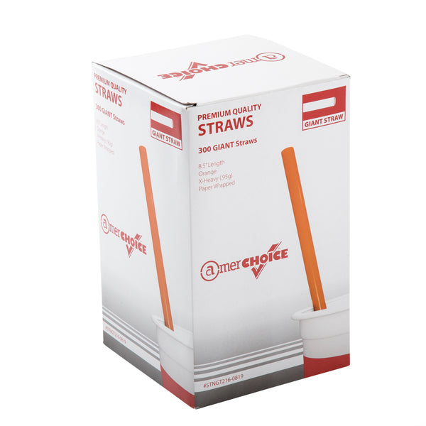 "8.5"" Giant Orange Paper Wrapped Straws"