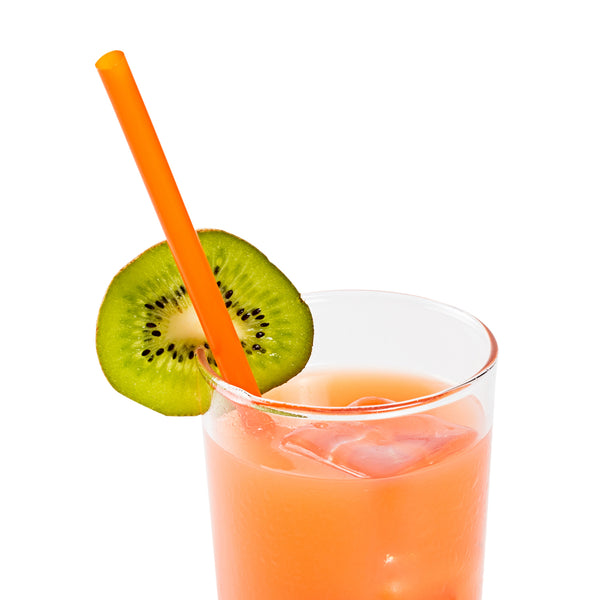 "8.5"" Giant Orange Paper Wrapped Straws with Beverage"