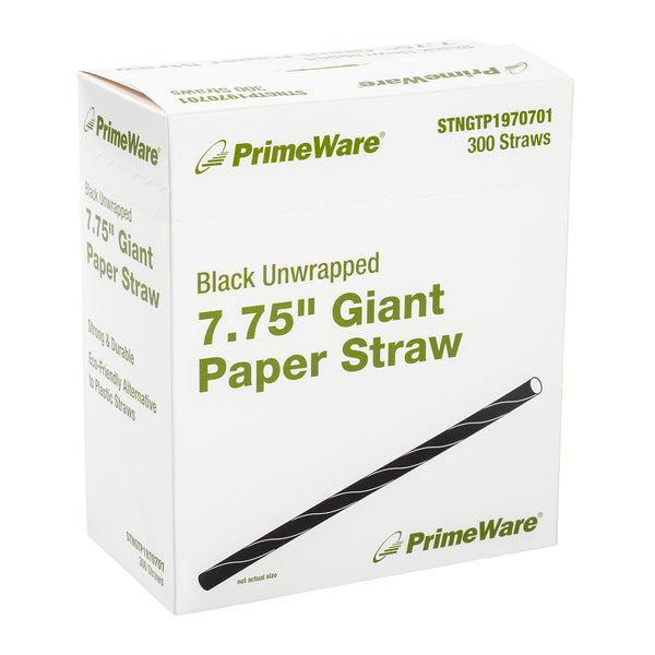 "STNGTP1970701 - 7.75"" Black Unwrapped Giant Paper Straws Sample, for Customer Service Use Only"