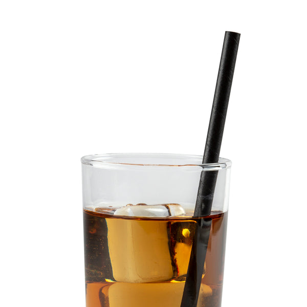"7.75"" Giant Unwrapped Black Paper Straw in Drink"
