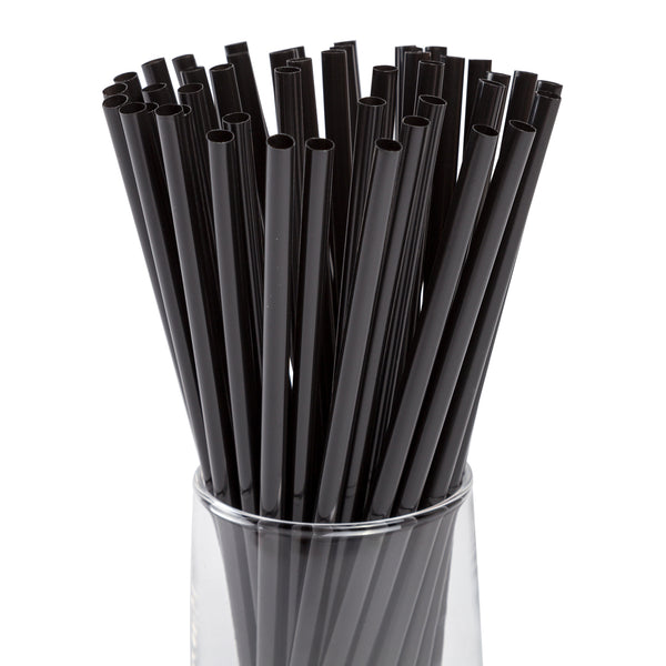 "7.75"" Jumbo Jumbo Black Unwrapped Straws"